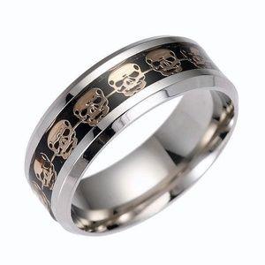Jewelry - Stainless Steel Band W/Gold Skulls on Ebony Black